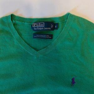 🐎 Polo Ralph Lauren Pima Cotton Green V-Neck Sz S